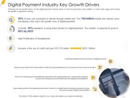 Digital Payment Industry Key Growth Drivers Ppt Summary Deck