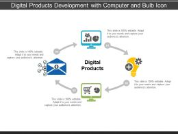 Digital Products Development With Computer And Bulb Icon