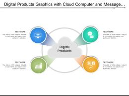 Digital Products Graphics With Cloud Computer And Message Icons