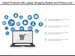 Digital Products With Laptop Shopping Basket And Product Icon