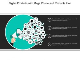 Digital Products With Mega Phone And Products Icon