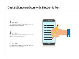 Digital Signature Icon With Electronic Pen