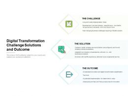Digital Transformation Challenge Solutions And Outcome