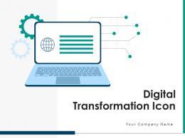 Digital Transformation Icon Arrows Circular Gear Analytics Organizational Performance