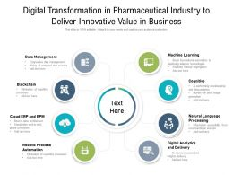 Digital Transformation In Pharmaceutical Industry To Deliver Innovative Value In Business