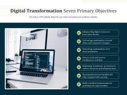 Digital Transformation Seven Primary Objectives