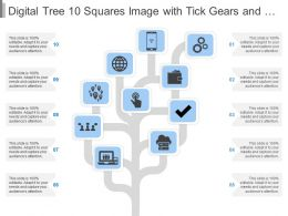 Digital Tree 10 Squares Image With Tick Gears And Globe Image