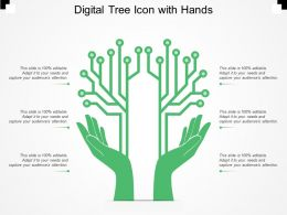 Digital Tree Icon With Hands