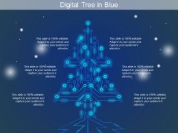 Digital Tree In Blue