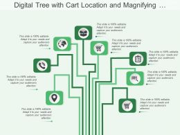 Digital Tree With Cart Location And Magnifying Glass Image