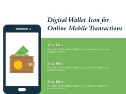 Digital Wallet Icon For Online Mobile Transactions