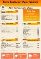Dining Restaurant Menu Template Presentation Report Infographic PPT PDF Document