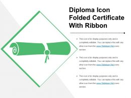 Diploma Icon Folded Certificate With Ribbon