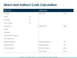 Direct And Indirect Costs Calculation Variable Costs Ppt Powerpoint Presentation Good