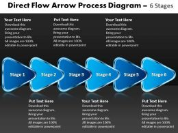 Direct Flow Arrow Process Diagram 6 Stages Draw Charts Powerpoint Slides