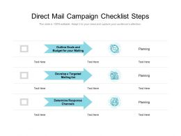 Direct Mail Campaign Checklist Steps
