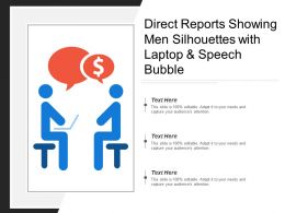 Direct Reports Showing Men Silhouettes With Laptop And Speech Bubble