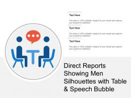 Direct Reports Showing Men Silhouettes With Table And Speech Bubble