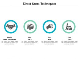 Direct Sales Techniques Ppt Powerpoint Presentation Pictures Shapes Cpb