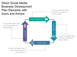 Direct Social Media Business Development Plan Elements With Icons And Arrows