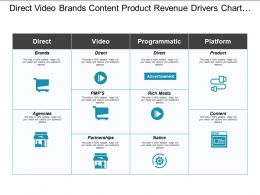 Direct Video Brands Content Product Revenue Drivers Chart With Icons