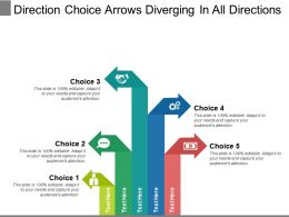 Direction Choice Arrows Diverging In All Directions