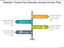 Direction Choice Four Direction Arrows On Iron Pole