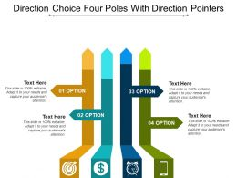 Direction Choice Four Poles With Direction Pointers