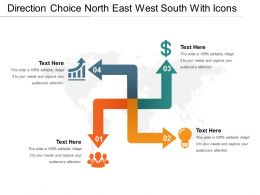 Direction Choice North East West South With Icons
