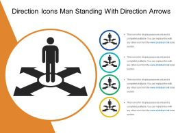 Direction Icons Man Standing With Direction Arrows