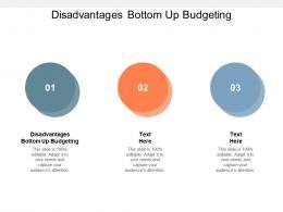 Disadvantages Bottom Up Budgeting Ppt Powerpoint Presentation Portfolio Themes Cpb