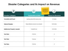 Disaster Categories And Its Impact On Revenue Natural Disasters Ppt Slides