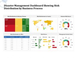 Disaster Management Dashboard Showing Risk Distribution By Business Process Source Ppt Powerpoint Brochure