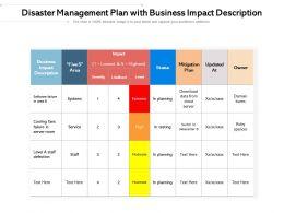 Disaster Management Plan With Business Impact Description