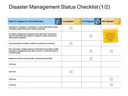 Disaster Management Status Checklist Business Ppt Powerpoint Slides