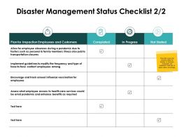 Disaster Management Status Checklist Impaction Employees Ppt Slides