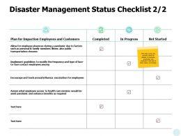 Disaster Management Status Checklist Ppt Powerpoint Presentation File Graphics Tutorials
