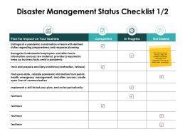 Disaster Management Status Checklist Progress Ppt Powerpoint Slides