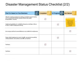 Disaster Management Status Checklist Progress Ppt Slides