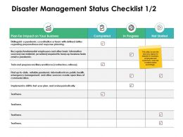 Disaster Management Status Checklist Sources Ppt Powerpoint Presentation Slides
