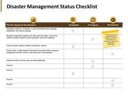 Disaster Management Status Checklist Workforce Ppt Powerpoint Presentation Pictures Clipart