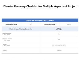 Disaster Recovery Checklist For Multiple Aspects Of Project