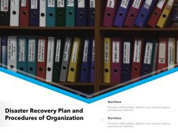 Disaster Recovery Plan And Procedures Of Organization