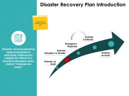Disaster Recovery Plan Introduction Business Continuity Ppt Powerpoint Slides