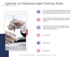 Disciplined Agile Delivery Roles Agenda For Displined Agile Delivery Roles Ppt Powerpoint Inspiration