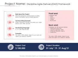 Disciplined Agile Delivery Roles Project Name Discipline Agile Delivery Dad Framework Ppt Tips