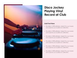 Disco Jockey Playing Vinyl Record At Club