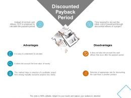 Discounted Payback Period Advantages Ppt Powerpoint Presentation Infographics Ideas