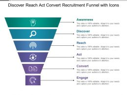 Discover Reach Act Convert Recruitment Funnel With Icons