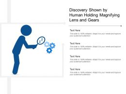 Discovery Shown By Human Holding Magnifying Lens And Gears